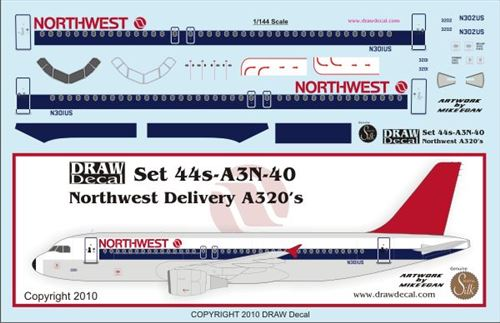 A320 (Northwest old colours)  44-A3N-40