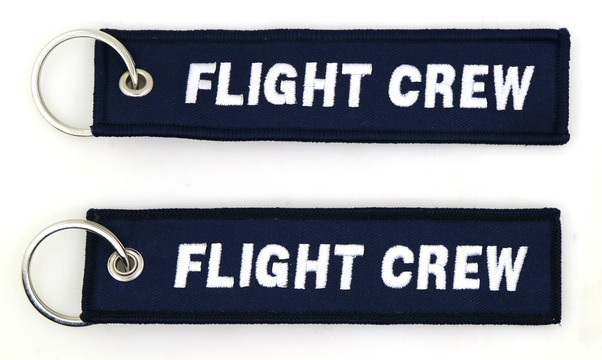 Keyholder with Flight Crew on both sides, navy blue background  KEY-FC-NAVY