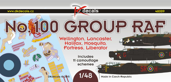 No.100 Group RAF: Wellington, Lancaster, Mosquito, Halifax, Flying Fortress, Liberator (11 camo schemes)  DK48009