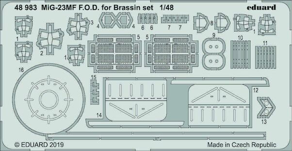 Detailset Mikoyan MiG23MF FOD set for Eduards Brassin set but can be used on its own (Eduard/Trumpeter)  E48-983