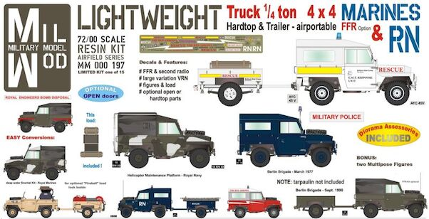 Land Rover 3, 1/4 ton 4 x 4 Hardtop/windows  & Trailer (Royal Navy, Marines) with  Figures, and Load  MM000-197