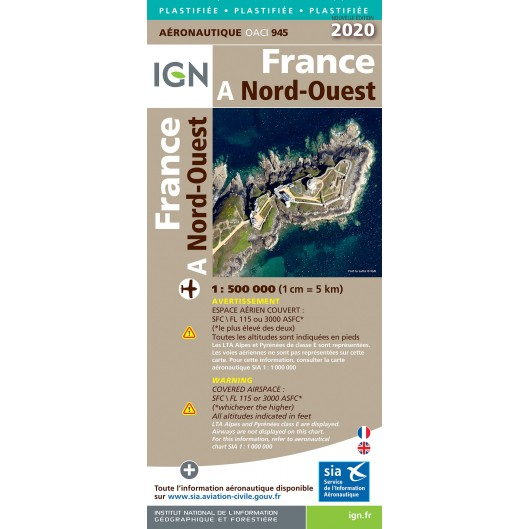ICAO chart France 941 North West (Nord-Ouest) Edition 2020  IGN-941
