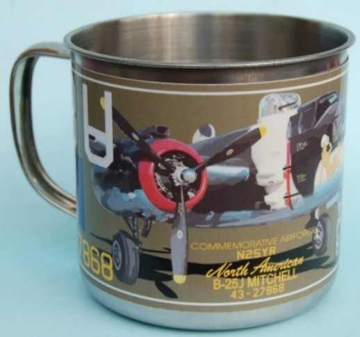 Steel cup with lid B-25 Mitchell 'Yellow Rose