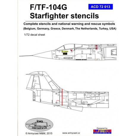 Deutschland 1//72 acd72013// Armycast Decals F//TF-104G USA Stencils
