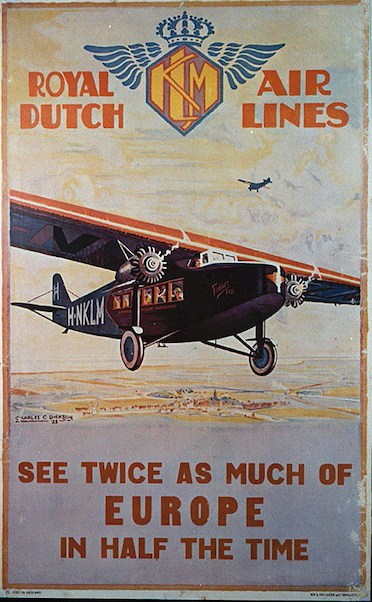 Royal Dutch Airlines, Europe metal poster metal sign  9045