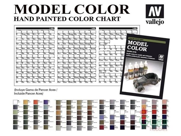 Vallejo Modelcolor And Panzer Aces Hand Painted Color Chart