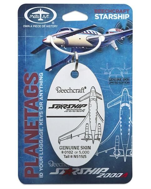 Keychain made of real aircraft skin: Beechcraft Starship 200A N515JS  0670087938697
