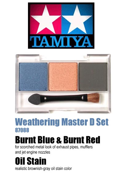 Tamiya Weathering Master set D (Burnt Blue, Burnt Red, Oil Stain)  87088