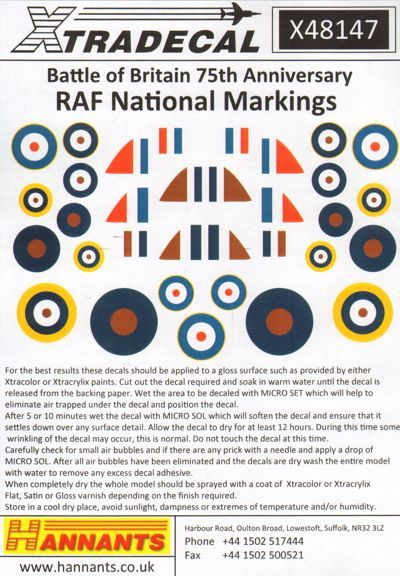 Battle of Britain 75th anniversary RAF Mational Markings  X48147