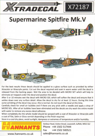 Supermarine Spitfire Mk.Vb/c Includes Presentation aircraft  X72187