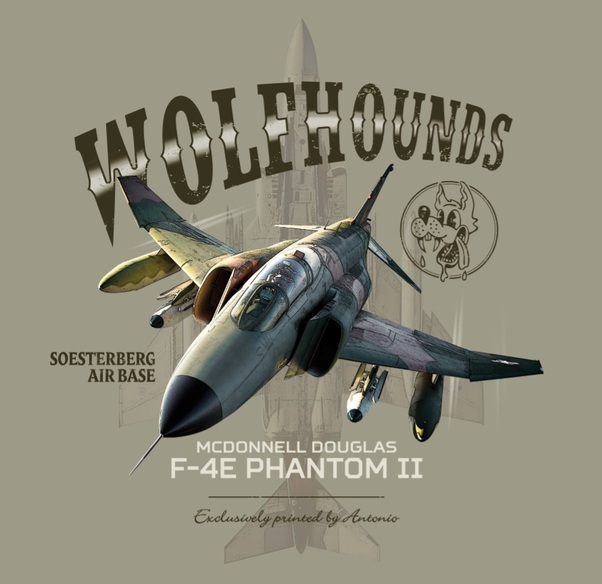 T-Shirt with 32TFS/CR Wolfhounds F-4E Phantom II Soesterberg Air Force Base  ANT-F4-M