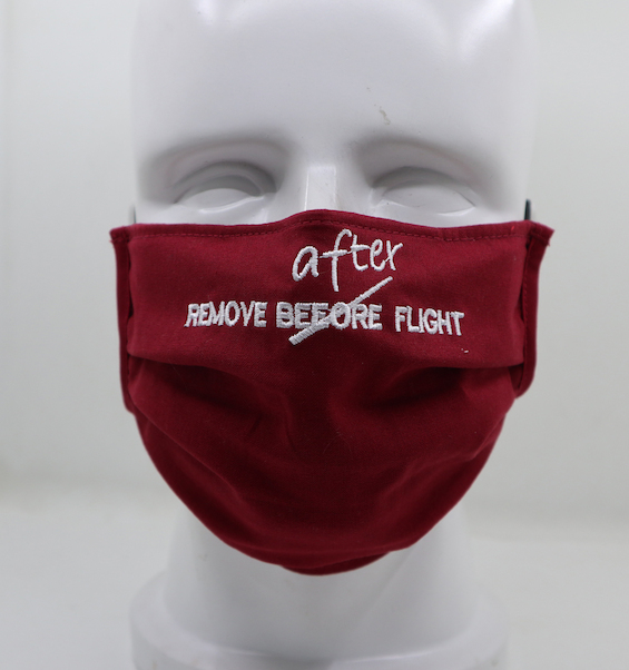 Aviation Face Mask Remove AFTER Flight (red) square form  MASK-SQ-RAFRED