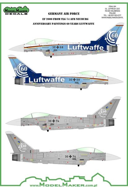 Eurofighter Typhoon 60 Years Luftwaffe TLG 74 mask + decal  MMD-32080