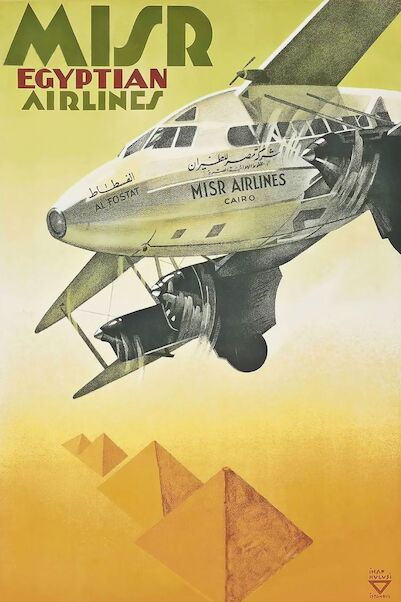 Misr Egyptian Airlines - DH86 Express Vintage metal poster metal sign