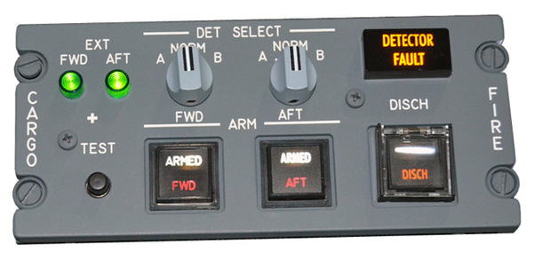 B737 Fire Cargo Panel, IDC version (Backlite power: 2,4 to 2,9 volts)  5T4