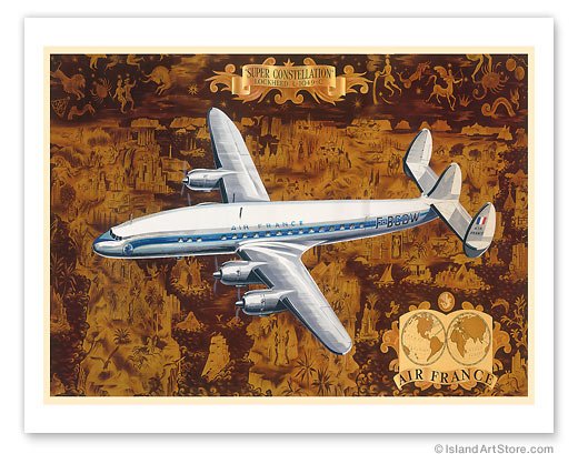Lockheed L-1049 Super Constellation Aircraft - Air France  Vintage metal poster metal sign  MTSA3681