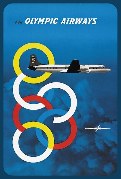 Fly Olympic Airways DC-6 Vintage metal poster metal sign  AV0025