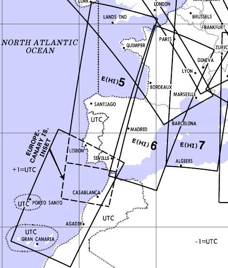 High Altitude Enroute Chart Europe HI 5/6: France, Spain, Portugal, Canary Islands  E-HI-5-6
