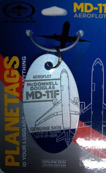 Keychain made of real aircraft skin: McDonnell Douglas MD11F Aeroflot  - VP-BDR (combo colours)  MD-11 VP-BDR