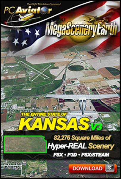 Mega Scenery Earth Version 3, Kansas (Download version)  DL-MSEV3-KS