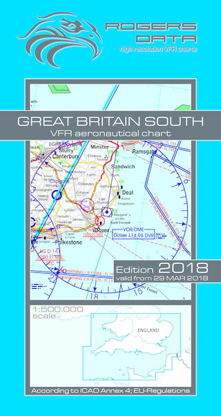VFR aeronautical chart Great Britain South 2018  ROGERS-GB-S