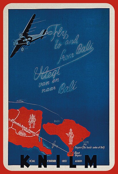 KNILM: Fly to and from Bali, Vliegt van en naar Bali (Royal Netherlands Indies Airways) Vintage metal poster metal sign  AV0034