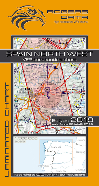 VFR aeronautical chart Spain North West 2019  ROGERS-ESP-NW