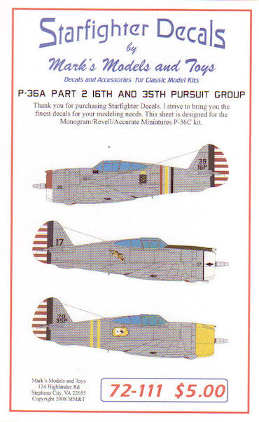Curtiss P36A Hawk part 2; 16th and 35th Pursuit Group  72-111