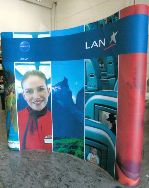 LAN Chile Display (used but in good condition) including frame  and heavy duty case  LAN Chile Display