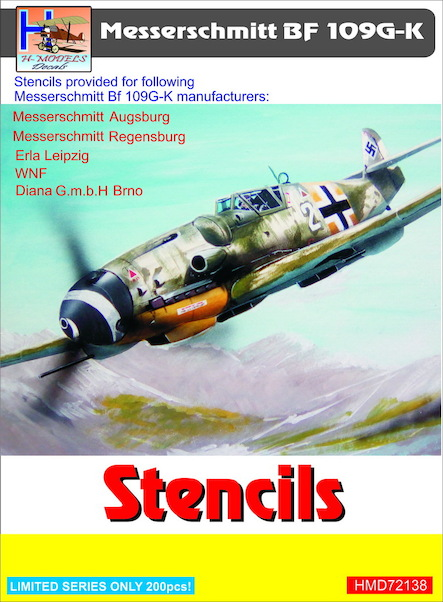 Messerschmitt Bf 109109G/K Stencils (sets for 5 different a/c manufacturers) for 5 planes  HMD72138