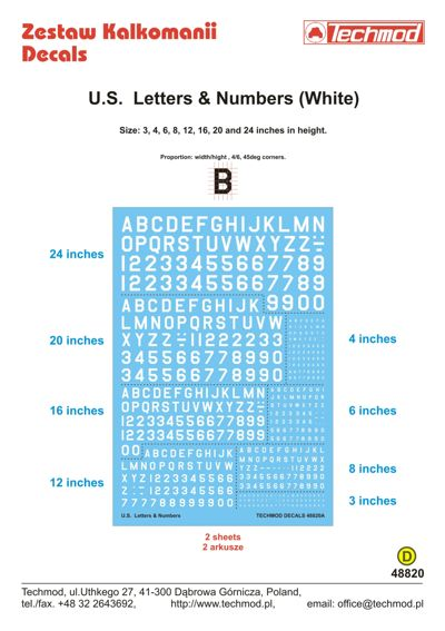 US Letters and Numbers from 3 to 24 inch (White)  48820