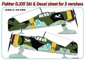 Ski's for Finnish Fokker D21 with Decals  AMLA4805