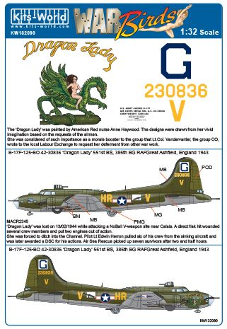 Boeing B17F Flying Fortress (42-30836 'Dragon Lady' 551st BS 385th BW)  kw132090