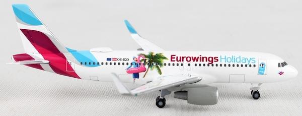 """Herpa 531276-1//500 Eurowings Europe Airbus a320 /""""Eurowings Holidays/"""" OE-IQD"""