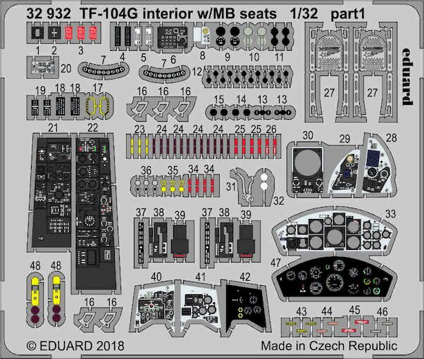 Detailset Lockheed TF104G Starfighter interior with MB Seats (Italeri)  E32-932