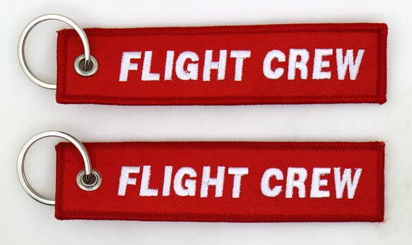 Keyholder with Flight Crew on both sides, red background  KEY-FC-RED