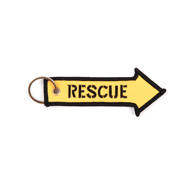 Keyholder with RESCUE on both sides, yellow background  KEY-RESCUE