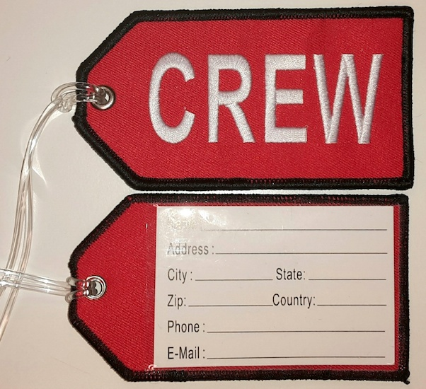 Crew baggage tag (red background)  CREW RED