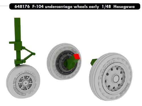 F104 Starfighter Undercarriage wheels - early- (Hasegawa/Eduard)  E648176