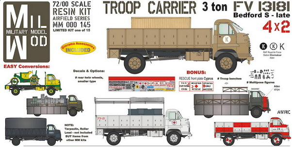 FV13181, 4x2, Bedford S Troop Carrier 3ton with benches, figures  MM000-145