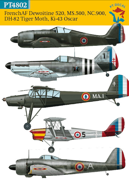 French Air Force Dewoitine D520, MS500, NC900, DH82, Ki43 (END OF LINE SALE - WAS EURO 12,95)  PT4802
