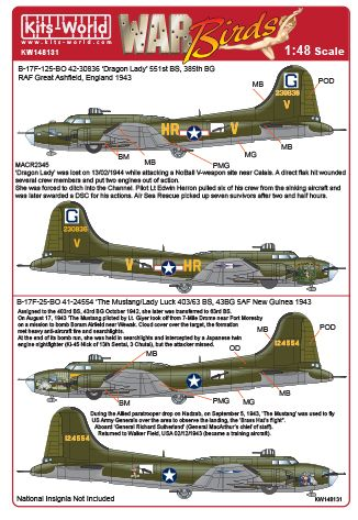 Boeing B17F Flying Fortress (Dragon Lady, The Mustang/Lady Luck)  kw148131