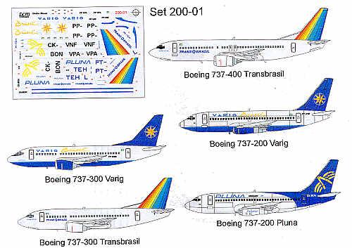 Boeing 737-300 VARIG aircraft sticker