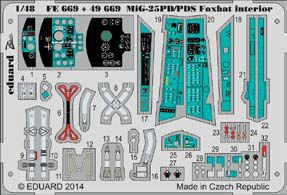 Detailset Mikoyan MiG25PD/PDS Foxbat Interior Self Adhesive (Kitty Hawk)  E49-669