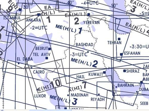 High and Low Altitude Enroute Chart Middle East ME(H/L)1/2  ME(H/L)1/2