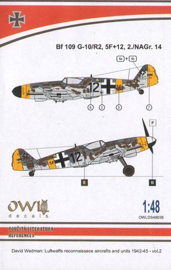 Reconnaissance # S7238 5F+12 Owl 1//72 Messerschmitt Bf-109G-10//R2