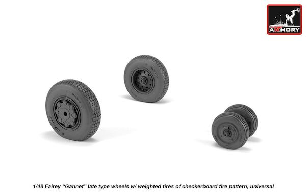 Fairey Gannet  late type wheels with weighted tires and blocked Pattern  AR AW48411