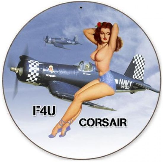 Corsair Nude Round Metal Sign - pinup  PTS-V168
