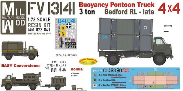 Bedford RL 4x4 Buoyancy Pontoon Truck, with two pontoon parts (MilMod  Military Models MM072-041)