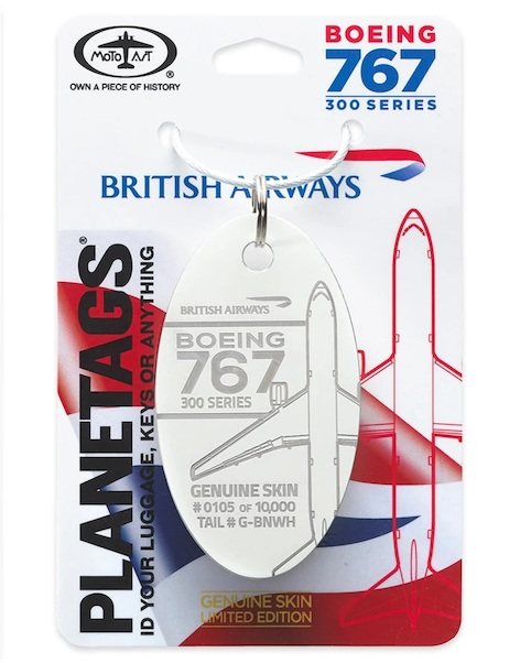 Keychain made of real aircraft skin: Boeing 767 British Aiways G-BNWH White  BA 767-WHITE